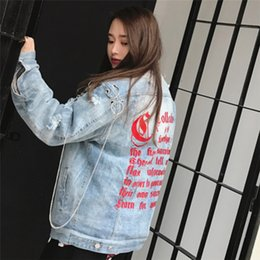 Ring Neck Female Canada - Wholesale free shipping Couple Embroidered Gothic Large Chain Style Washed Ripped Metal Rings Retro Attractive Female Jacket