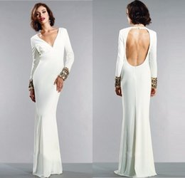 Barato Elegante Branco Backless Vestido De Noite-2016 V Neck Vestidos de noite branca Elegante Long Sleeves Sexy Backless Prom Dress Vestidos de noite formal