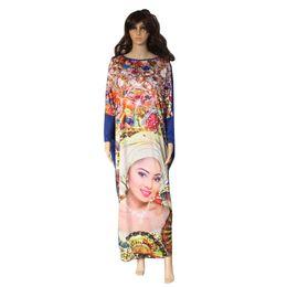 China Wholesale- 2017 New Casual Print Dresses Long Sleeve Pattern Beauty Face Leopard Women Maxi Dress Vestidos African Style Fat MM Loose Dress cheap leopard summer maxi dresses suppliers