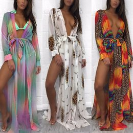 Barato Praia Sexy Ata Até Swimwear-New Sexy Women Ladies manga comprida Lace-Up Cardigan Bikini Cover Up Swimwear Beach Dress 3 Colors 4 Size