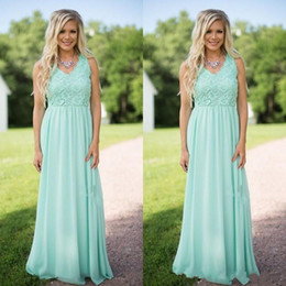 f9e94f4ab1f 2017 Hot Mint Green Lace Chiffon Bridesmaid Dresses for Western Country  Garden Weddings A Line V Neck Floor Length Bohemian Bridesmaids Gown