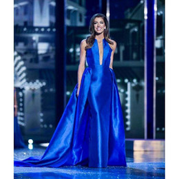 Modeste Robe De Bal Royal Blue Pas Cher-A-ligne Jewel Satin élégant Celebrity country robes de bal Runway 2017 détachable jupe Two Piece Royal Blue modeste robe de soirée vintage 1y