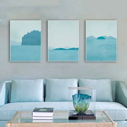 3 Modern Abstract Seascapes Poster A4 Blue Landscape Big Wall Art Picture  Nordic Living Room Home Decor Canvas Painting No Frame