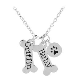 $enCountryForm.capitalKeyWord Canada - Cute Fashion Necklaces Bone Dog Paw Necklaces & Pendants Griffin Ruby Silver Plated Necklaces Jewelry For Women Gift