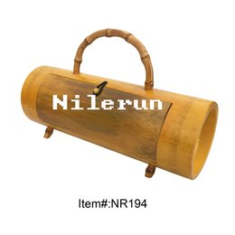 bamboo handbag handles NZ - Famous designer Nilerun brand real natural bamboo barrel purse handbag with bamboo root handle