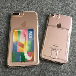 Transparent Cards Canada - 2017 New TPU Transparent Cell Phone Case with Card Pocket Card Slid Back Cover Shockproof Protective Phone Cover for Iphone6 6plus Iphone7