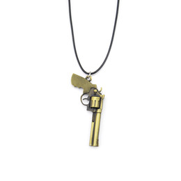 Chain Counter UK - New Counter Strike Leather Chain Men's Revolver Choker Necklace Vintage Gold CS GO Gun Necklace Men Jewelry Souvenir Gift