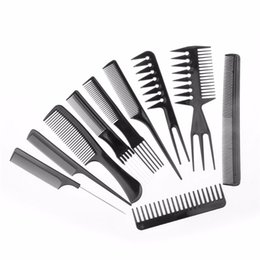 China 10pcs set Professional Salon Combs Set Black Plastic Barbers Hair Styling Tools Hairdressing Salon Free Shipping suppliers