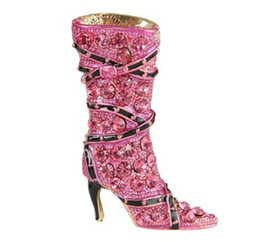 China Lady High-heel Brooch Pink Austrian Crystal Shoe Boot brooch suppliers