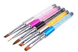 5pcs / set per lotto Nail Art Design Pennello per dipingere punteggiatura Pennelli per unghie acrilici Pennelli per pennelli in Offerta