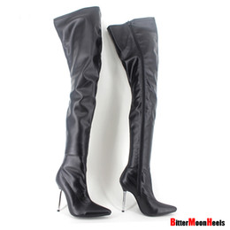 Chinese  Wholesale-Woman's Spring Autumn Lace-Up Thigh High Boots Sexy Boots High Heel Patent Leather Over Knee Pointed Toe Boots Customize Design manufacturers