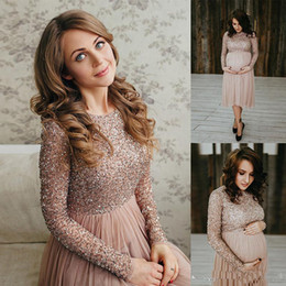 Barato Vestidos De Manga Longa Curtos E Brilhantes-2017 Cheap Shiny Empire Sequins Short Prom Dress para mulheres de maternidade Tulle Long Sleeve Pregnant Vestidos Formal Party Evening Gown