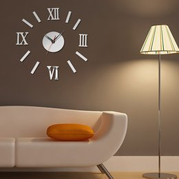 Luxury Wall Stickers Canada - Wholesale-3D Luxury DIY Clock Decoration Mirror Stickers Wall Art Fashion Home Decoration