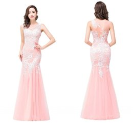 Barato Penteado Vestido De Baile Elegante-Cheap Peach Mermaid Evening Dress Sheer Jewel Neck Illusion Back Long Prom Dresses com Appliques de renda Elegant Evening Dresss 2017