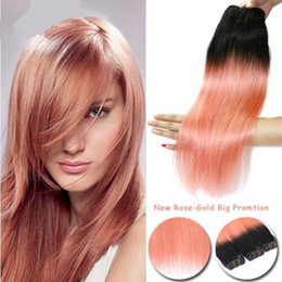 dark gold hair Canada - Ombre Hair Extensions Rose gold with dark roots Brazilian Straight Virgin Hair 3Pcs Soft Brazilian Ombre Rose Gold Pink Weave