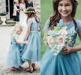 first communion ivory dresses for girls 2019 - 2019 Blue Lace Princess Custom Made Flower Girl Dresses for Wedding TUtu Skirt Ruffled Princess Jewel Boho Beach First C