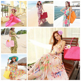 $enCountryForm.capitalKeyWord Canada - 13 Colors Summer Beach Bags Candy Bag Travel Bags Summer Big Straw Shoulder Tote Shopper Beach Bags Purses Knit Bag CCA5921 50pcs