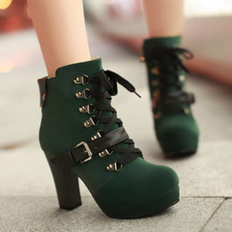 Snow Booties For Women NZ - Vintage Buckle Platform Martin Booties Lace Up Chunky Heel Ankle Boots For Women High Heels Shoes Bigger Size43