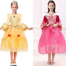 wholesale aurora princess dresses Canada - Children Cosplay Princess Dresses Aurora Belle Sophia Aurora Gauze TuTu Party Pageant Ball Gown Long Pleated Dress Sleeping Beauty HH7-195