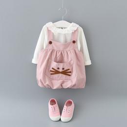 Little Girls Boutique Clothing Canada - Baby Girls Bear Pocket Suspender Dresses Set Spring 2017 Kids Spring Boutique Clothing Little Girls Long Sleeves 2 Piece Set