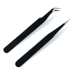 art tweezers 2019 - Wholesale- Free shipping 2 pcs Black Nail Art Acrylic Gel Picking Tool Rhinestones Gem Decor Black Eyelash Tweezers Hot