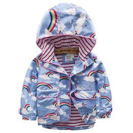 c19103d0ebbb4 Spring Kids Coat Jacket Hoodie Cartoon Graffiti Printed Hooded Windbreaker  For Girls Full Sleeve Toddler Outerwear Blue