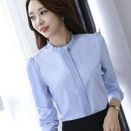 2ee10003 Plus Size 4XL 5XL Fashion shirt women OL formal blusa long sleeve all-match  chiffon blouse office ladies business work wear tops