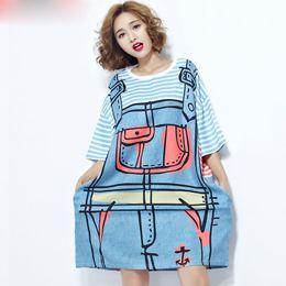 T Shirt Woman Korea Australia - Women T-Shirt Plus Size 3D Pattern Striped Print Summer Female Fashion Trend Loose Blue Casual Stylish Show Thin Korea T-Shirt