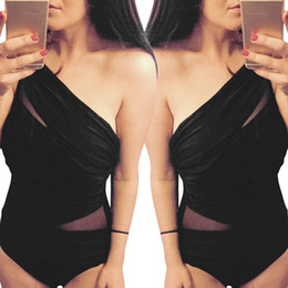 Maillots De Bain Taille Plus Pas Cher-Hisimple Womens One Piece Swimsuit Taille grand Maillot de bain Big Girl Mesh Sheer One Shoulder Maillot de bain Noir Sexy Monokinis Beachwear