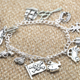 SciSSor bracelet charm online shopping - 12pcs Johnny Depp Fan inspired bracelet Fangs Scissors Teapot Gun Pirate Flag Pumpkin charm bracelet