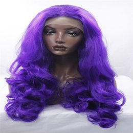 big waves hair 2019 - kabell Fashion wig lave front wigs synthetic blue pink wig with long hair is 26 inches long Big wave hairstyle African A