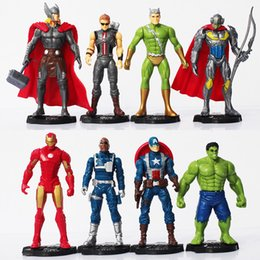 Chinese  8Pcs Lot the Avengers Age of Ultron Hulk Thor Iron Man Captain America Hawkeye Quicksilver Nick Fury PVC Figure Toy with base manufacturers