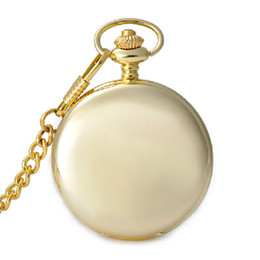Chains For Mirrors UK - Gold Color Mirror Type Case Pocket Watches For Mens Analog Quartz Pocket Watch with Chain W014
