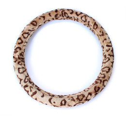 "Chinese  1X Soft Leopard Plush Auto Car Steering Wheels Cover Anti-slip 38CM 15"" manufacturers"