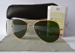 Classic Mens Glasses NZ - 1pcs Designer Classic Sunglasses Mens Womes Sun Glasses Eyewear Gold Frame green 58mm Glass Lenses Large Metal With Better black Case