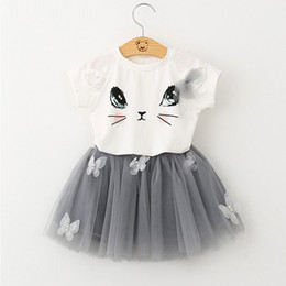 Wholesale Girls Clothing Sets New Summer Fashion Style Cartoon Kitten Printed T Shirts Net Veil Dress Girls Clothes Sets