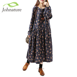Barato Coreano Meninas Moda Primavera Casual-Atacado- Johnature Women Print Floral Dress 2017 Primavera New Korean Fashion Plus Size Mulheres Long Sleeve Casual O-Neck Mori Girl Dress