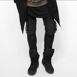 Chinese  Wholesale- 2017Hiphop streetwear pants High Quality Mens Ripped Jeans Cotton Slim Fit Motorcycle Jeans Men Vintage Distressed Denim Jeans manufacturers