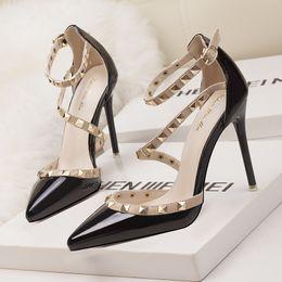 2019 fetish red high heels women shoes wedding shoes Rivet mary jane pumps  escarpins femme ladies lolita gladiator sandals women valentine 4f1c1baae8e6