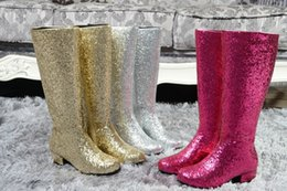 China Fashion Gold Silver Low Heel Knee High Boots Woman Sequined Long Top Rain Booties Ladies Nightclub Bling Shoes Big Size 43 supplier ladies long leather boots suppliers