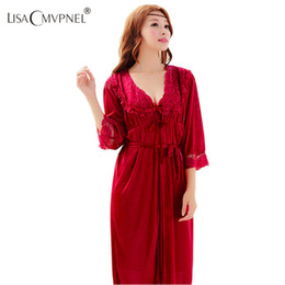 983dc7ebbd7f Long Nightgowns Robe Sets Canada - Wholesale- Lisacmvpnel Ice Silk Sexy 2  Pcs Women Robe