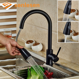 Discount oiled rubbed bronze kitchen faucets Wholesale- Oil Rubbed Bronze Kitchen Faucet Single Handle Deck Mounted Water Mixer Taps