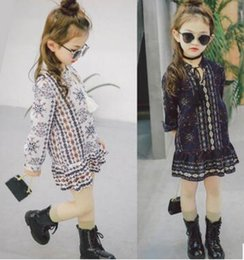 Arrivée De Vêtements Pour Enfants Pas Cher-Kids Girl Spring et manches longues Pinting Dress Enfant Vêtements Casual Fashion Dress Girl Nice Dress 2017 New Arrival 5 Pcs / Lot X22104