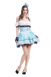 free size lolita dresses UK - Halloween Maid Costumes Womens Alice in Wonderland Costume Suit Maids Lolita Fancy Dress Cosplay Costume for Girl with free gift bag PS040