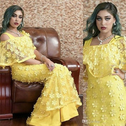 Hand Made Art NZ - Charming Yellow Hand Made Flower Long Prom Dresses Square Neck Sweep Train Evening Gowns Pageant Party Dress DTJ