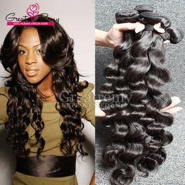 Discount virgin brazilian wavy hair weave - Greatremy® 3pcs lot 8A Brazilian Loose Deep Wave Virgin Human Hair Extension Loose Curly Hair Weave Weft Dyeable Mink Wa