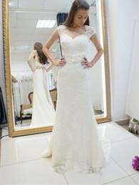 Discount portrait neckline - Vintage 2017 lace wedding dresses with ribbon portrait neckline flowers sash bridal gowns buttons backless sweep train v