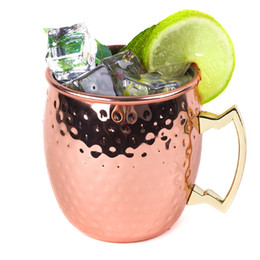 iron hammer Australia - 50pcs Hammered Copper Cup Mug Moscow Mule Cocktail Special Glass Stainless Steel Hammer Cups Plated Rose Gold Mugs
