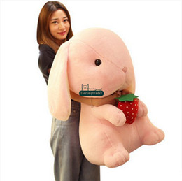 Discount giant soft toy rabbit Dorimytrader Lovely 70cm Giant Soft Cartoon Bunny Stuffed Toy Pop Plush Anime Rabbit Doll Pillow Girl Present 28inches D