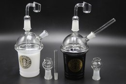Oil Rigs Sandblasted Australia - 2PCS Black White 14mm Starbucks Cup Glass Bongs Sandblasted Glass Pipes With Glass Bowl Quartz Nail For Smoking Oil Rigs